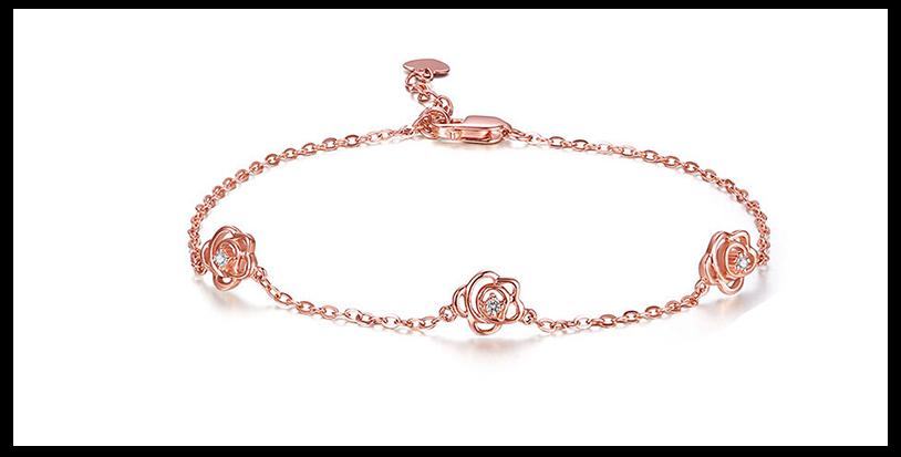 18k金玫瑰钻石手链