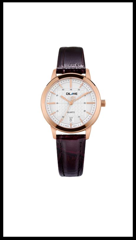 优雅牛皮带女士瑞士石英机芯手表