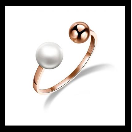 珍珠18K金玫瑰金戒指