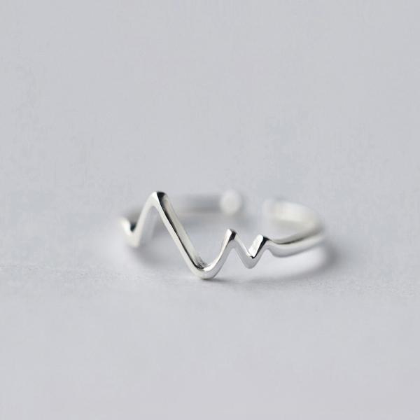 925银戒指女爱的心电图开口戒指指环送女友生日礼物可刻字