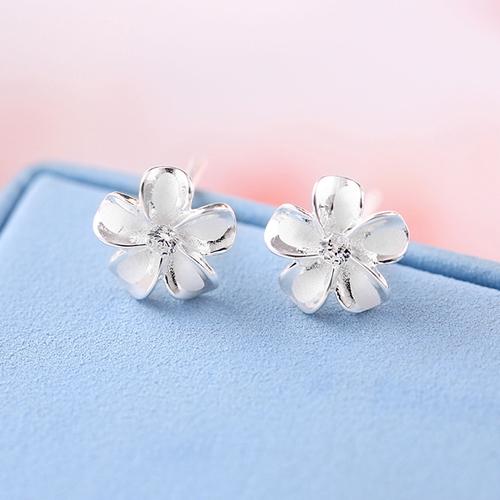 樱花耳钉女花朵耳环甜美s925纯银气质百搭日韩国简约清新学生个性