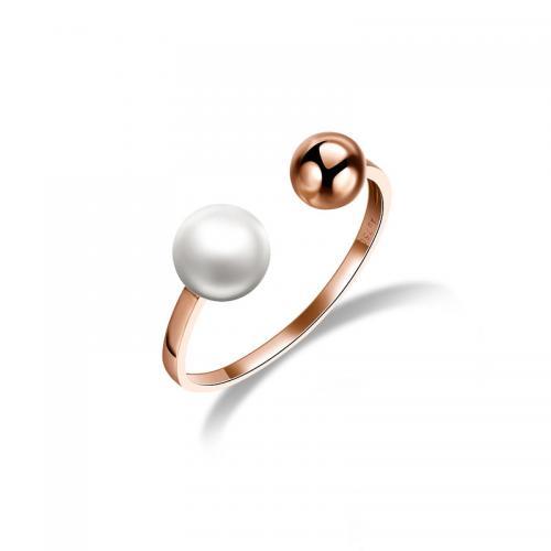 德西尔新品 珍珠18K金玫瑰金戒指女款18k彩金女戒指环