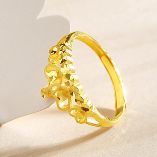 黄金戒指女 足金皇冠王冠金戒指女戒指环 正品珠宝首饰计价