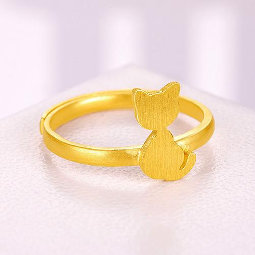 黄金戒指女 足金小猫女戒 金属拉丝指环女款 计价