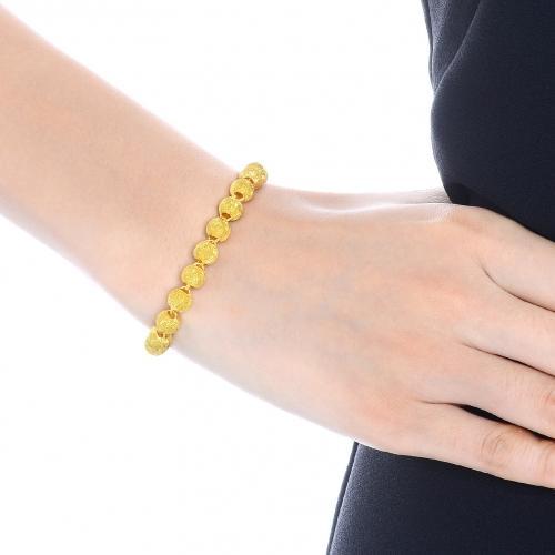 珠宝足金黄金手链女款 黄金首饰品圆珠手链