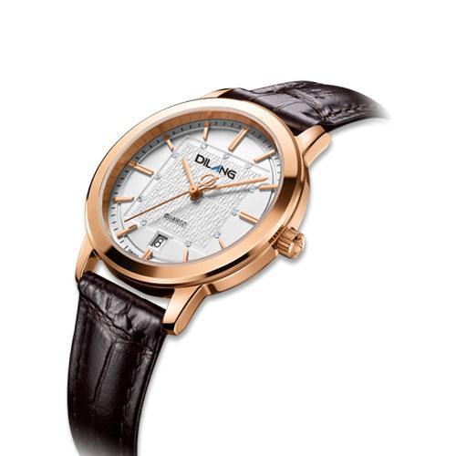 帝浪(DILANG)手表 进口石英表 优雅牛皮带女士手表瑞士石英机芯E7 白面玫金色圈