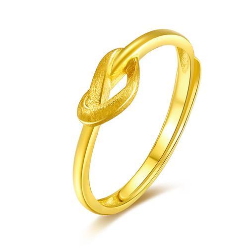 黄金戒指女 足金心形蝴蝶结女戒 活口简约时尚指环 送女友