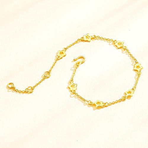 黄金手链女 足金星星细手链手镯链子 浪漫小清新 正品计价