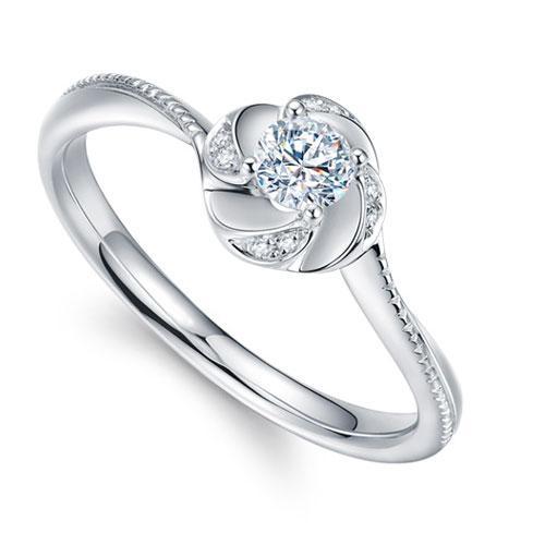 18K金钻石戒指-30分E色求婚订婚结婚钻戒女款-茉香