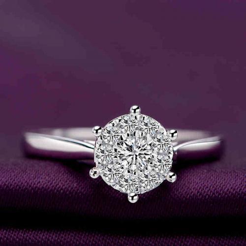 1克拉情侣钻戒定制18K白金铂金结婚求婚钻石戒指男女婚戒对戒