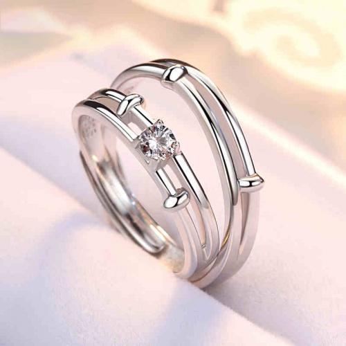 星辰925纯银情侣戒指活口一对男女对戒开口日韩简约指环婚戒饰品