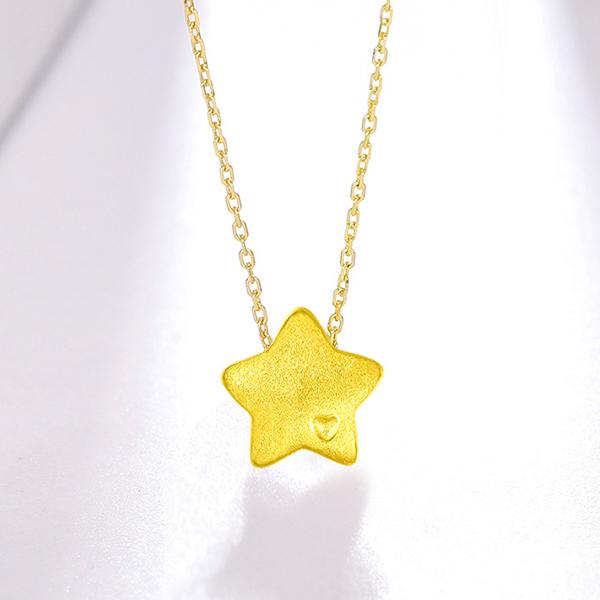 珠宝黄金足金吊坠女 3d硬金星星挂件转运珠