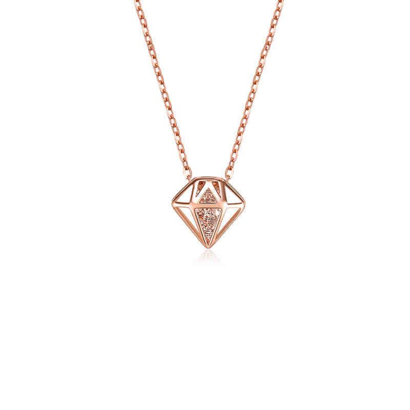 德西尔珠宝 镂空宝石 18K金项链玫瑰金吊坠彩金锁骨链女