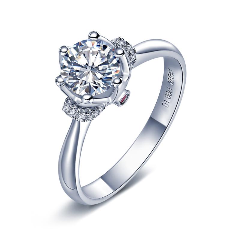 真爱加冕系列18K金/PT950钻石红宝石女戒公主领结婚戒