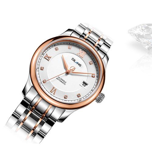 帝浪(DILANG)手表 情侣手表 简约商务进口机械机芯男女对表V9 玫瑰间金白盘
