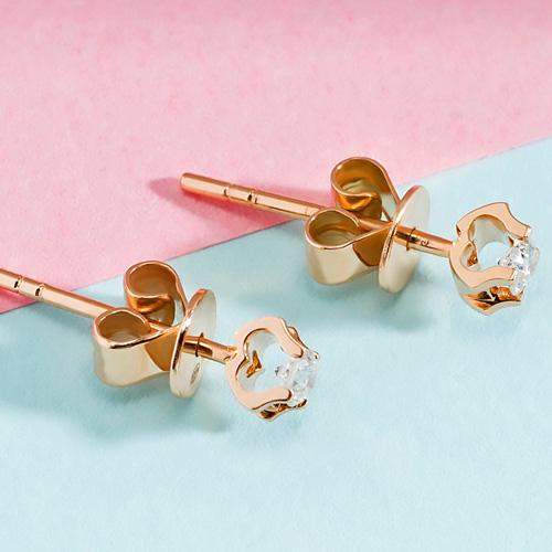 18k玫瑰金钻石耳钉真钻女彩金白金单钻耳钉简约耳环耳饰