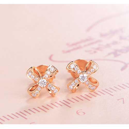18K金钻石耳钉-女款时尚耳钉耳坠耳饰-风吟