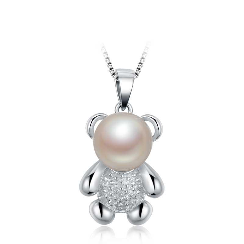 蜜恋小熊系列 S925银镶白色淡水珍珠吊坠