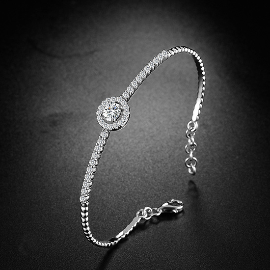18K金钻石手镯群镶调节白金钻石手镯黄金手镯玫瑰金手环