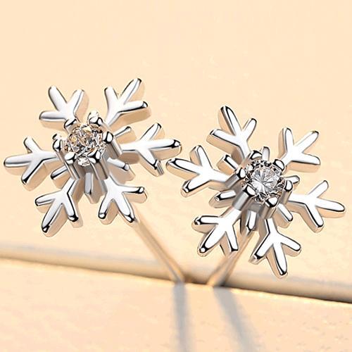 s999纯银耳钉女简约气质韩国创意个性百搭不易过敏圣诞节雪花耳环