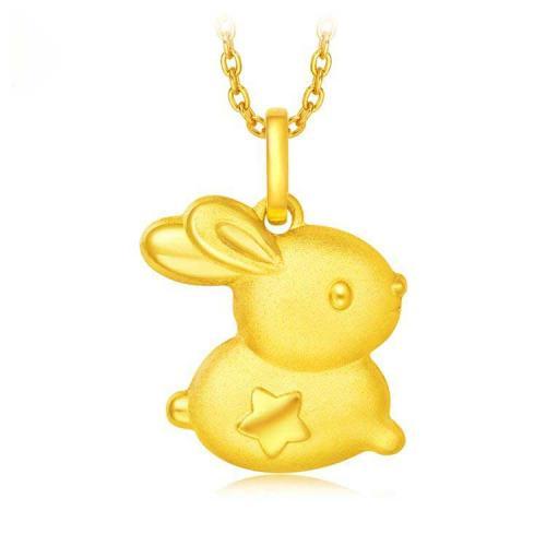德西尔珠宝首饰可爱兔子足金黄金吊坠