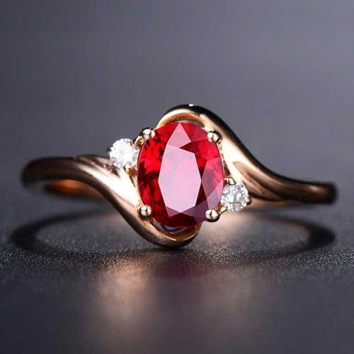 高级珠宝天然无烧鸽血红宝石戒指女18k金玫瑰金彩色宝石