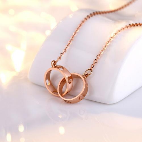 18K金项链双环玫瑰金彩金锁骨链简约爱心送女友生日情人节礼物