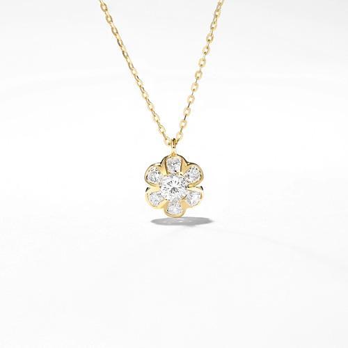 雪花钻石项链18K黄金拼群镶吊坠玫瑰白金锁骨链彩金女士项坠
