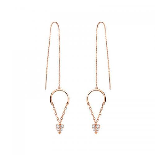 18K金钻石耳钉-恬淡-耳环女款耳钉耳坠 专柜正品