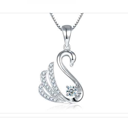 钻石吊坠 白18K金时尚精致显大款天鹅钻石项链女-羽逸