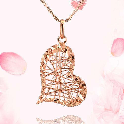 18k玫瑰金彩金项链吊坠 女款一网情深爱心形黄白金项链吊坠