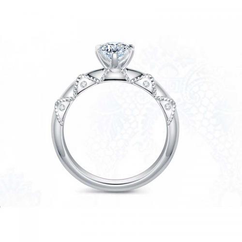 铂金戒托 蕾丝系列 钻石戒指-结网