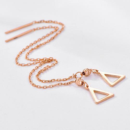 18K金三角形玫瑰金色耳线 长款耳饰女款 简约新品
