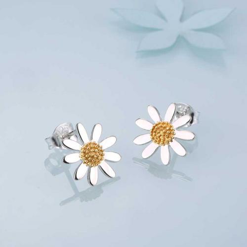 雏菊耳钉女 欧美气质简约925银饰品 花朵迷你小耳钉