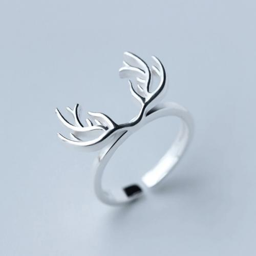 925银戒指女森系时尚开口个性麋鹿戒指鹿角指环文艺食指戒