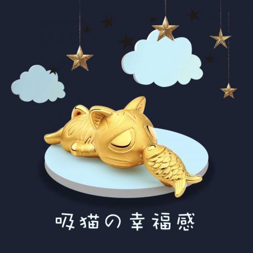 小幸福猫鱼黄金足金吊坠项链坠女首饰品可爱定价