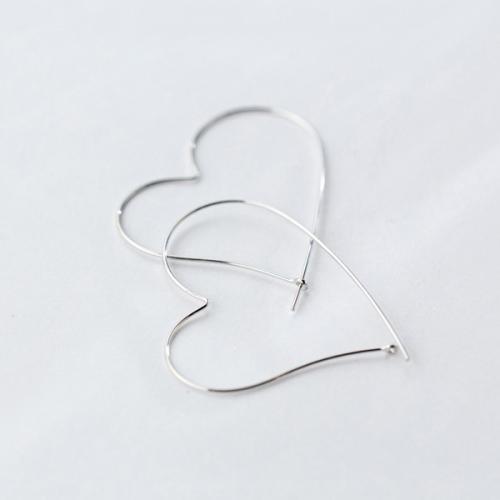 925银耳环耳坠女镂空大爱心夸张耳环气质大耳圈潮流耳饰