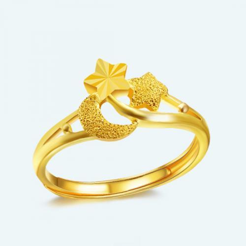 女款黄金戒指999足金 时尚星月戒指 黄金手饰女戒指环