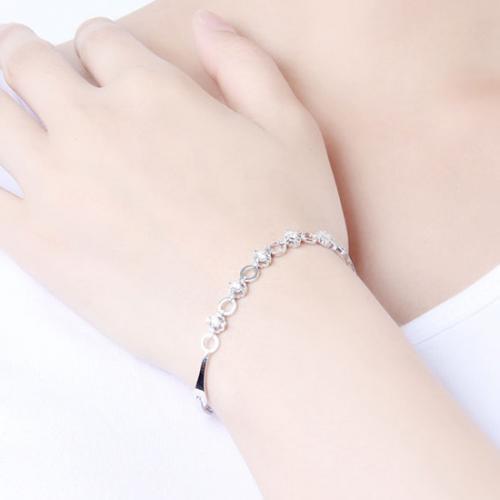 18K金简约钻石手链女铂金满钻手镯定制白金女款手饰