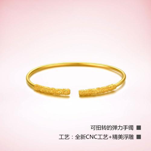 黄金手镯女足金金箍棒弹力镯子手链金箍棒系列
