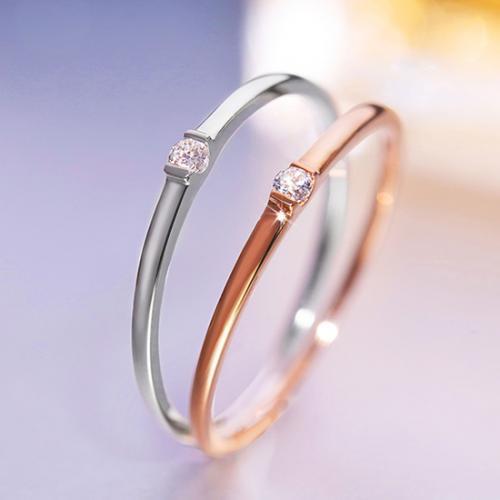 18K玫瑰金戒指红/白18k金钻石戒指彩金戒指k金钻戒
