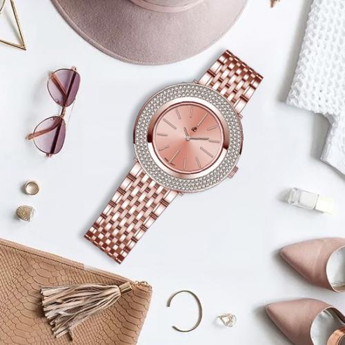 帝浪(DILANG)手表 超薄女士手表 简约石英女表进口机芯Q2