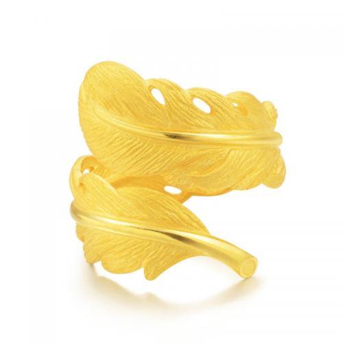 足金饰品爱情密语羽毛黄金戒指女首饰指环