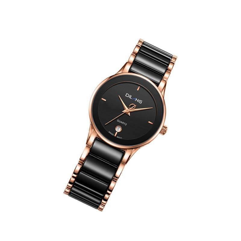 帝浪(DILANG)手表 石英手表黑色休闲陶瓷女士手表