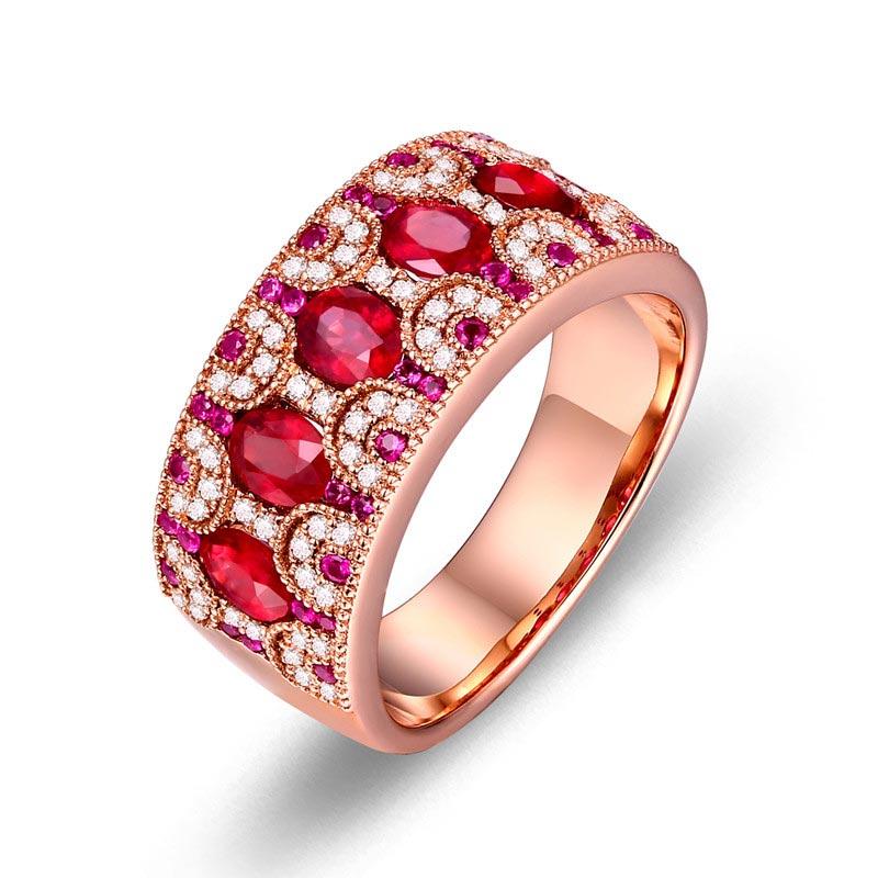 1.23克拉天然鸽血红宝石戒指 24分天然钻石 18K金彩宝