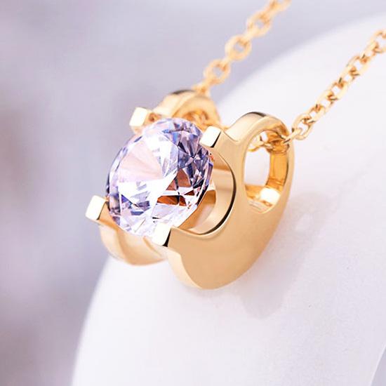 18K白金项链女韩版简约心形托帕石吊坠锁骨链情人节礼物送女友