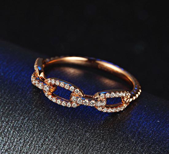 18K黄金钻石戒指 时尚麻花锁链碎钻排戒女个性群镶指环