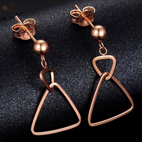18K金耳钉女款18K彩金玫瑰金几何三角耳钉耳环