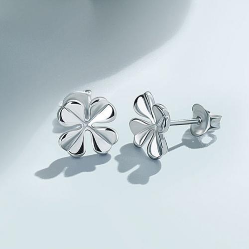 925银时尚清新四叶草耳钉女小耳环简约韩国气质银耳饰