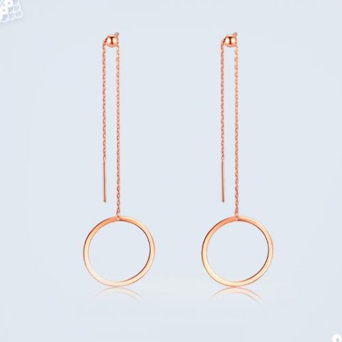 18K金耳饰几何一款三戴耳坠个性时尚玫瑰金耳饰女款